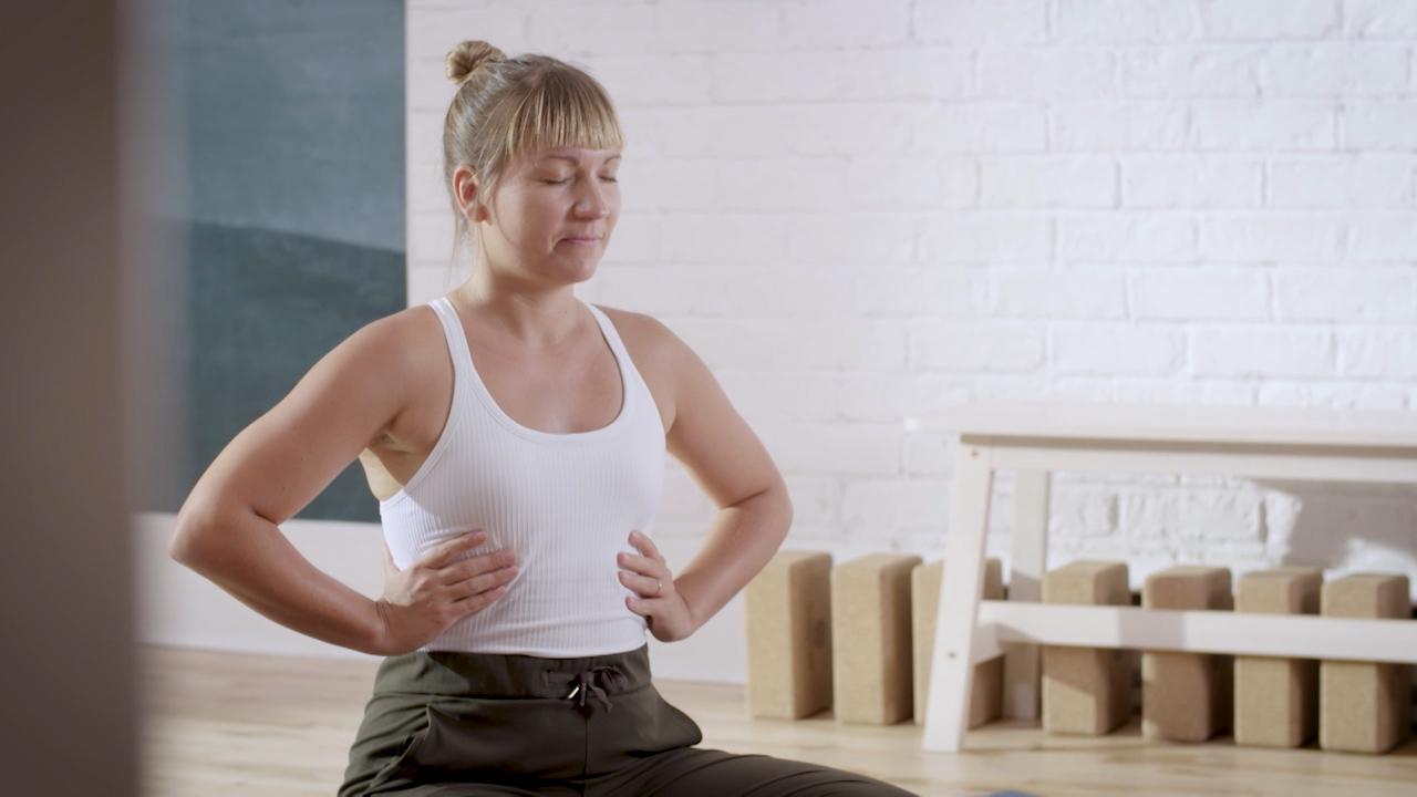 Andréanne dans la position du lotus
